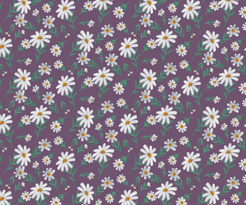 TenStickers. 70's daisy flowers floral mouse mat. With this fantastic vintage mouse pad with a daisy pattern on a purple background in the 70's style you will be able to use your mouse much easier.
