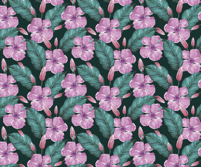 TenStickers. Big tropical flowers floral mouse mat. Bring a touch of nature to your desk decor with this wonderful floral mouse pad with a pattern of pink tropical flowers surrounded by green leaves.