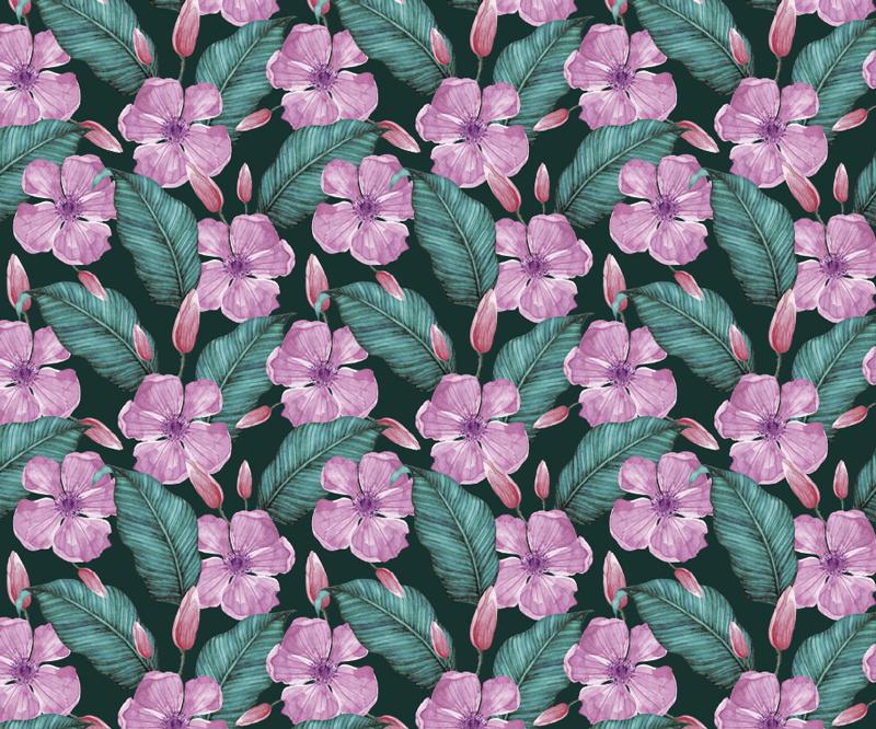 TenStickers. Grote tropische bloemen muismat. Breng een vleugje natuur in je bureau met deze prachtige bloemen muismat met een patroon van roze tropische bloemen omgeven door groene bladeren.