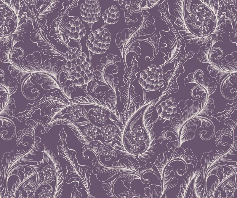 TenStickers. 紫色佩斯利花卉鼠标垫. 使用带有紫色花纹的佩斯利鼠标垫,您不仅可以更轻松地使用计算机鼠标!