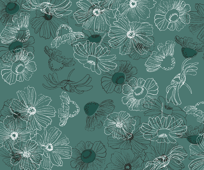 TenStickers. Hand draw flowers floral mouse mat. This floral mouse pad with a hand-drawn flower pattern on a blue-green background is perfect for you! Have fun while using your computer.