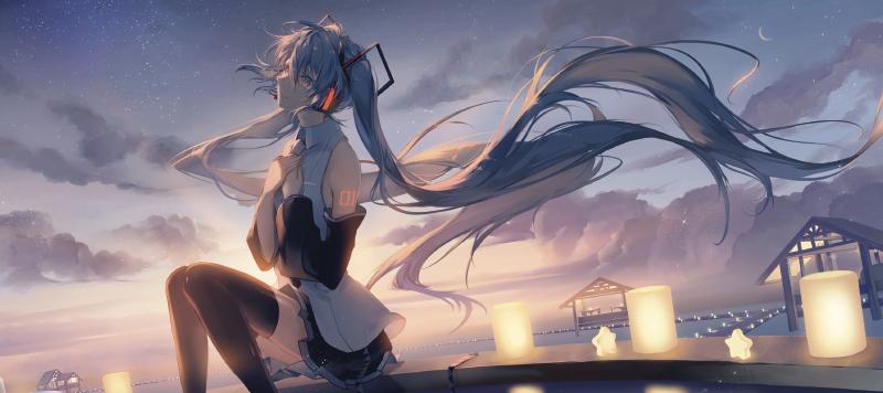 TenStickers. аниме геймер девушка коврик для мыши. Коврик для мыши аниме для девочек с прекрасным изображением девушки из аниме, слушающей музыку со свечами и морем на заднем плане.