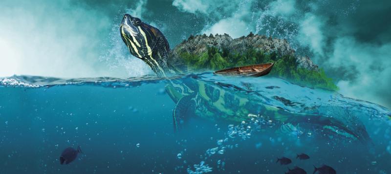 TenStickers. ρεαλιστική αρχική ποντίκι κολύμβησης. μαξιλάρι ποντικιού χελώνας που διαθέτει μια όμορφα λεπτομερή εικόνα μιας χελώνας που κολυμπά στον ωκεανό με ψάρια στο βάθος.