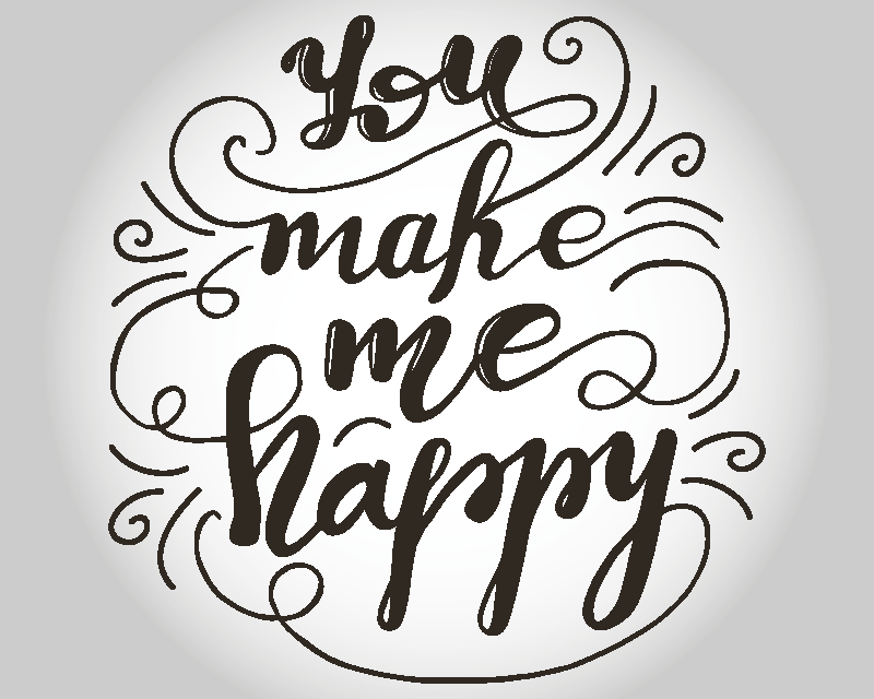 TenStickers. You make me happy mouse pad with quotes. Happy quote vinyl mouse mouse design created on a white background It is inscribed with the text that says '' You make me happy''.