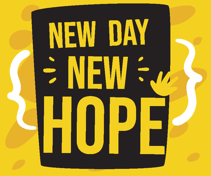 TenStickers. New day mouse pad with quotes. Start everyday been reminded with your quote mouse mat that is it is a ''New day new hope''.  The design is created on a yellow and black background.