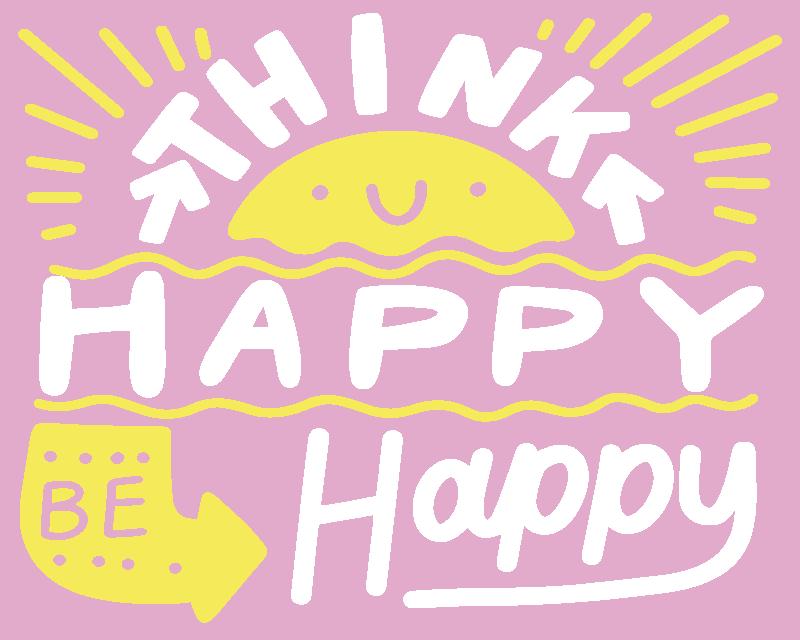 TenStickers. σκεφτείτε θετικό ποντίκι με εισαγωγικά. κίνητρο απόσπασμα ποντικιού απόσπασμα γραμμένο με '' θετικό να είσαι ευτυχισμένος '' σε ένα υπέροχο στυλ γραμματοσειράς με υπέροχο χρώμα φόντου.