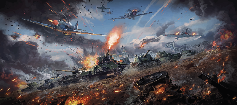 TenStickers. War gaming vinyl mouse pad. Gaming mouse pad designeed with a war theme background, It is featured with military war vehicles with blasted texture appearance.