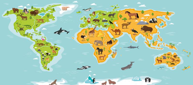 TenStickers. Wereldkaart muismat Dieren. Een prachtig wereldkaart met dieren muismat met verschillende dieren en gewoontes voor elke locatie. Gemakkelijk te onderhouden van hoge kwaliteit.
