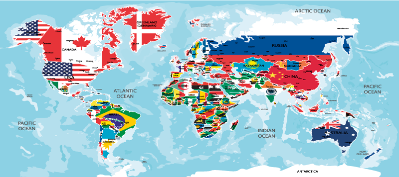TenStickers. Flag world map vinyl mouse pad. An amazing world map mouse map designed with each country location represented in their flag colour. It is easy to maintain and available in sizes.