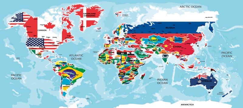 TenStickers. Zastava sveta zemljevid podloge za miške vinila. Neverjeten zemljevid miške zemljevida sveta, zasnovan z vsako lokacijo države, prikazano v njihovi barvi zastave. Ga je enostavno vzdrževati in na voljo v velikostih.