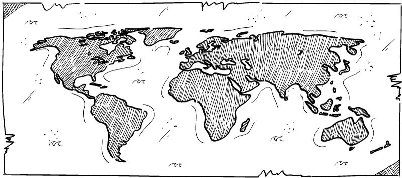 TenVinilo. Alfombrilla ratón mapamundi blanco y negro. Una fantástica alfombrilla ratón mapamundi diseñada sobre un fondo blanco con características originales dibujadas ¡Envío exprés!