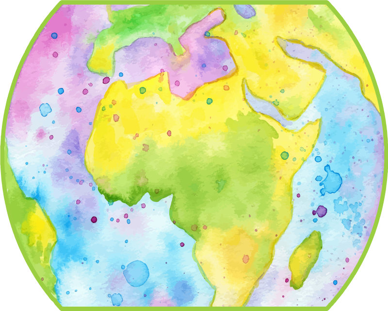 TenStickers. Planisphere world map vinyl mouse pad. A world map mouse pad with abstract design of world map in multicolored painting texture. t is easy to maintain and made of good quality.