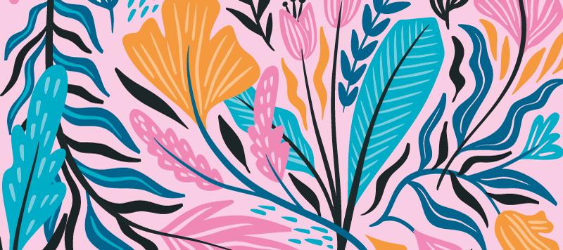 TenStickers. Tappetino per mouse con motivi floreali. Disegno del tappetino per mouse motivo floreale realizzato in materiale originale. è facile da mantenere e comodo per navigare con il mouse. Disponibile in diverse dimensioni.