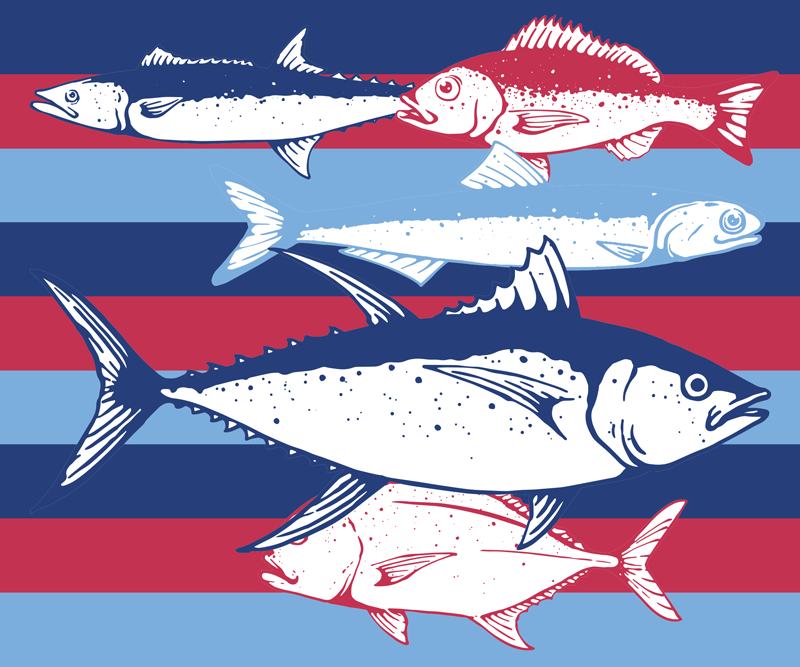 Tenstickers. Värikäs tausta käsin piirretyt kalat hiirimatto. Käsin piirretyt kalat värikkäällä taustalla kuvio hiirimatto koristelee työpöydän tilaa. Sen laatu on korkea ja ystävällinen käyttää.