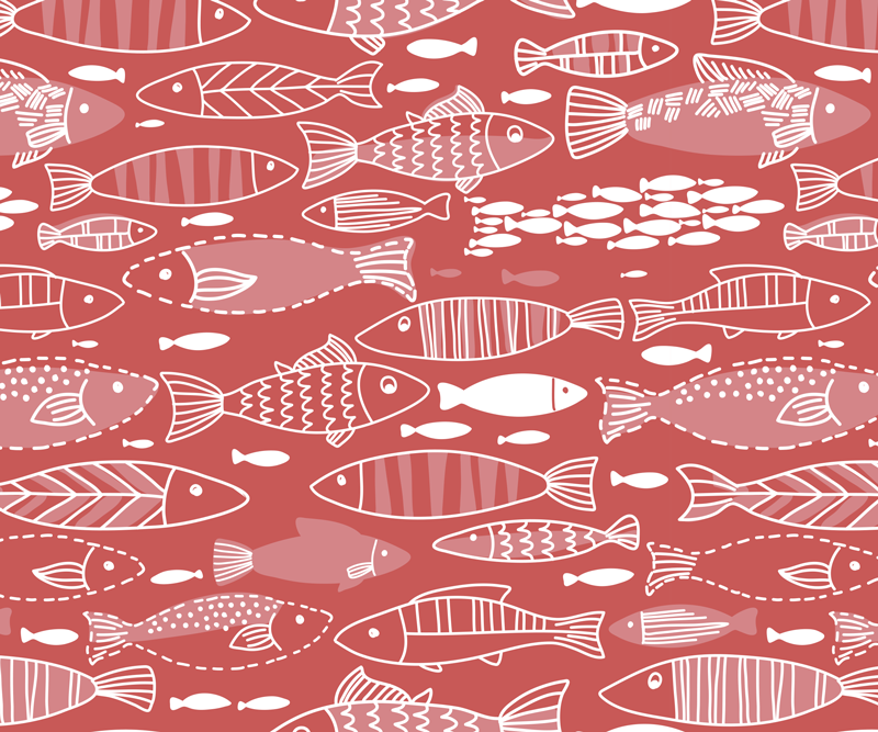 TenStickers. Many fish under sea fish mouse mat. An original and quality made mouse mat featured with fish patterns on a red background. It is friendly to use and anti allergic.
