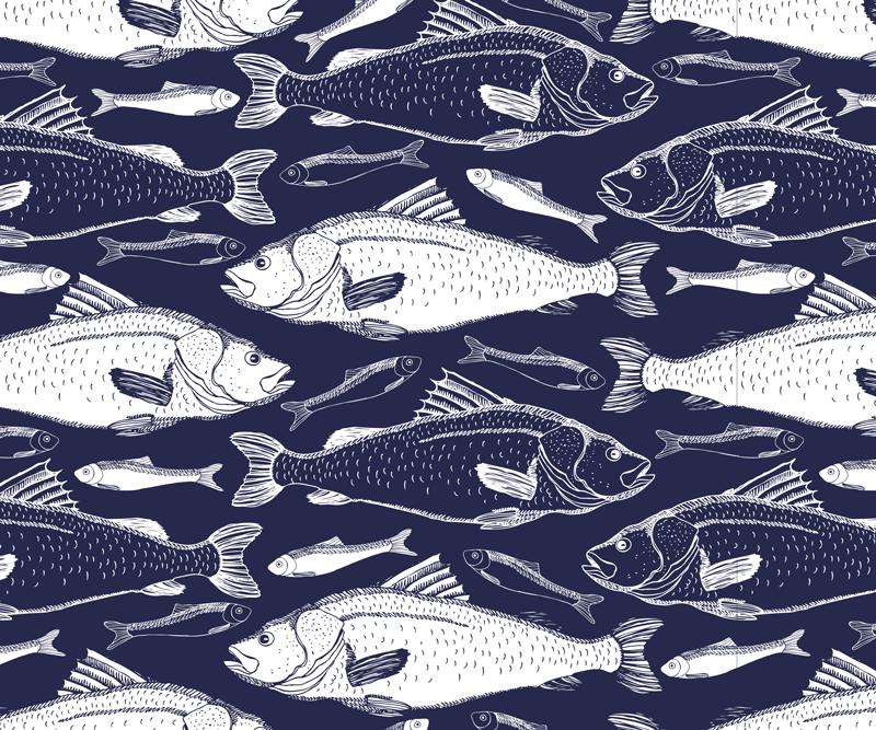 TenVinilo. Alfombrilla de ratón textura bajo peces de mar. Alfombrilla de ratón con patrones de peces para su ratón con el que facilitarás su uso. Producto de calidad y lavable ¡Envío a domicilio!