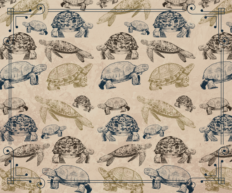 TenStickers. Turtles beige background turtle mouse mat. Buy our trendy mouse pad designed with an easy to use surface finishing with the design of turtles in beige background texture.