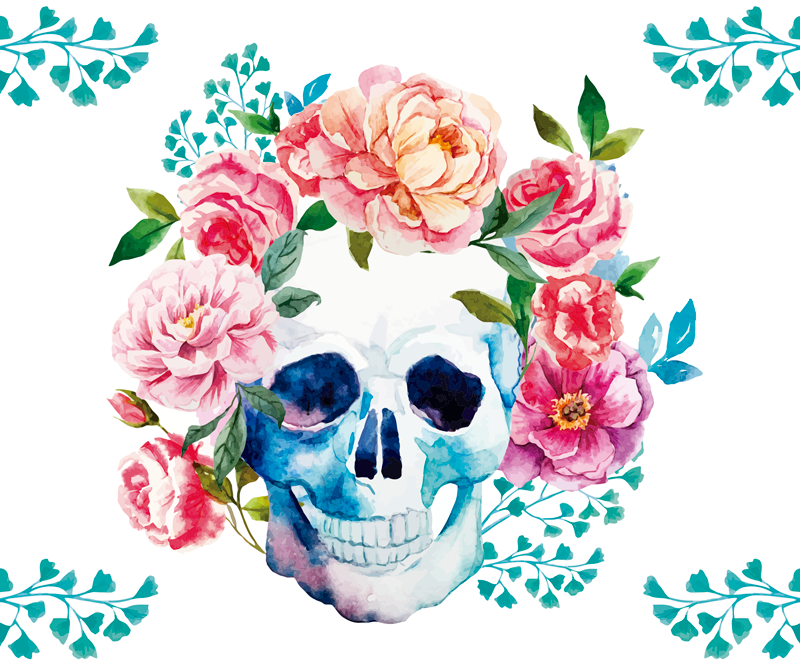 TenStickers. Skull flowers original vinyl mouse pad. An original modern mouse pad for your computer mouse space with colorful flower and skull design. It is made of high quality.