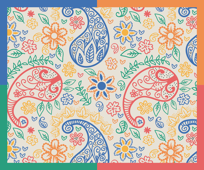 TenStickers. Colorful paisley paisley mouse mat. Make working on your computer less stressful with our amazing textural trendy mouse mat  with multicolored paisley design.