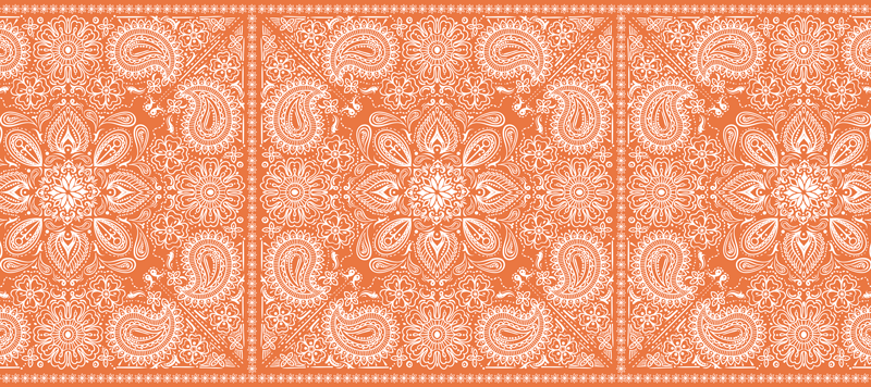 TenStickers. Paisley tile paisley mouse mat. Decorative paisley patterned mouse pad  designed on an orange background. It is easy to maintain and made of good quality.