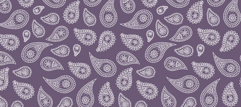 TenStickers. Retro paisley paisley mouse mat. Beautiful paisley vinyl mouse pad designed on purple background. It is easy to maintain and made with high quality material.