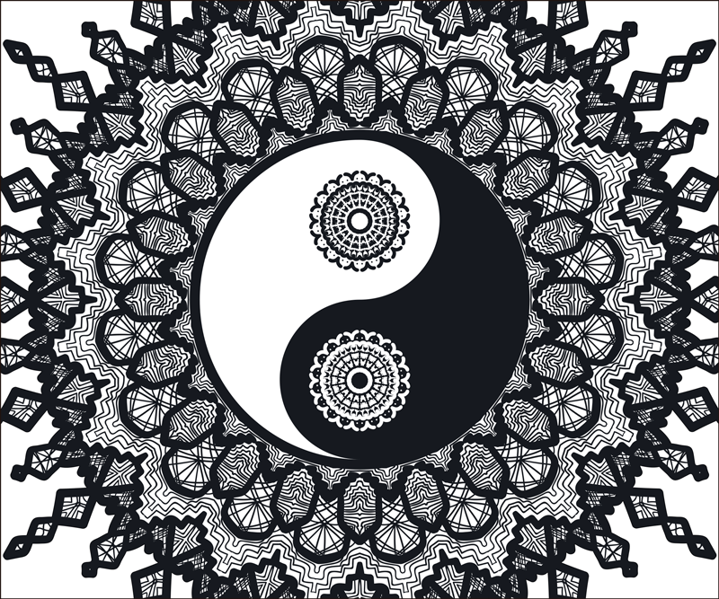 TenStickers. коврик для мыши ying yang paisley. оригинальный коврик для мыши с рисунком пейсли и инь ян. он оригинален, долговечен и прост в использовании. это доступно в различных размерах.