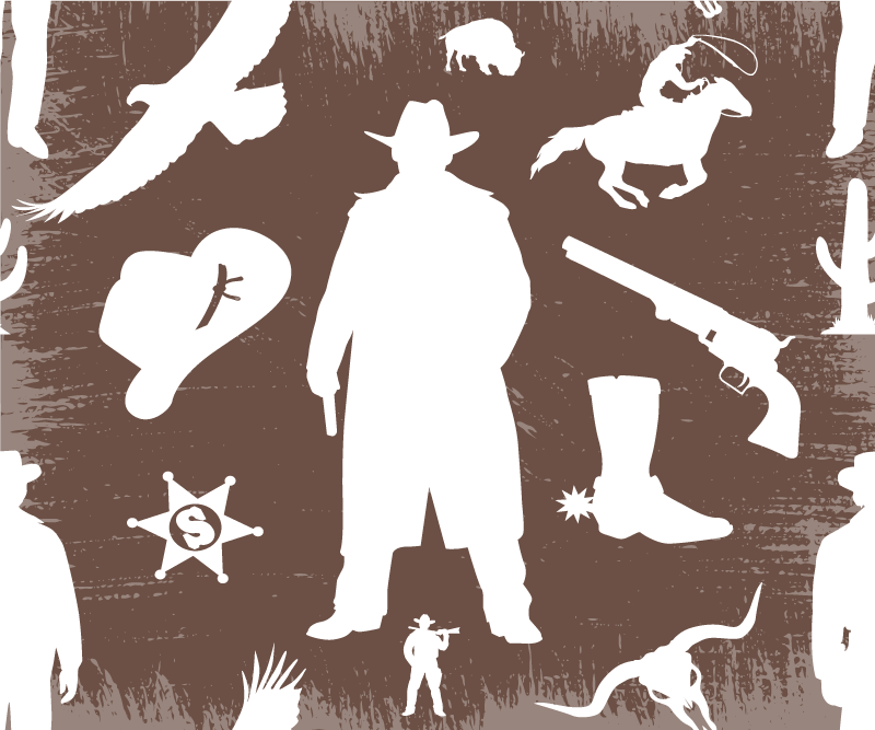 TenStickers. Cowboy and horses pattern mouse pad. Featured cowboy silhouette mouse pad design created on brown background with the images of cowboys, horse, revolver, bull's head, cactus and more.