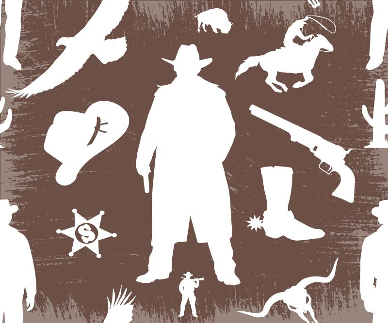 TenStickers. Tapis de souris marron Silhouette de cow-boy. Un tapis de souris marron avec la silhouette d'un cow-boy. Ce tapis de souris original est conçu avec divers éléments liés aux cow-boys sur un fond marron. Entretien facile !