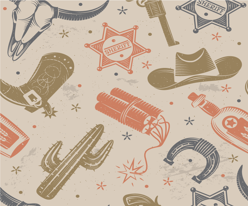 TenStickers. Cowboy elements pattern mouse. Cowboy featured elements mouse pad design for your mouse space. The design contains horseshoes, revolver, cowboy's boot, dynamite cactus and more
