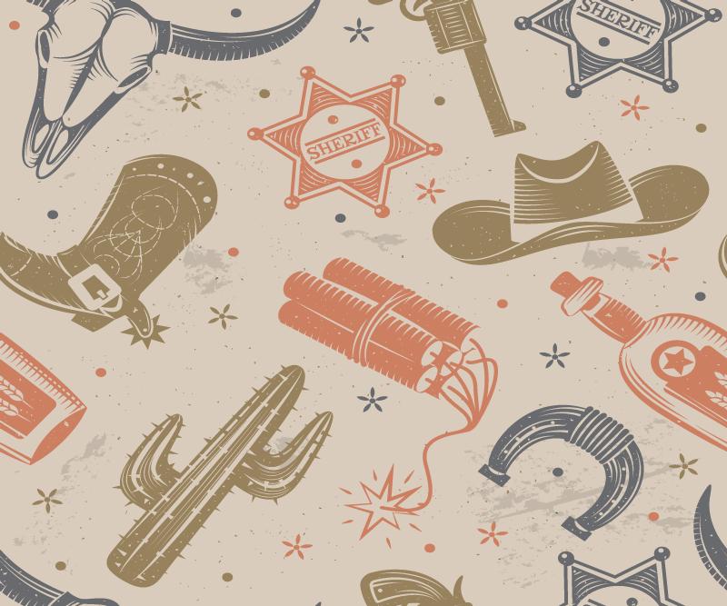 TenStickers. Cowboy elemente Muster Maus. Cowboy-elemente mauspad-design für Ihren mausraum. Das Design enthält hufeisen, revolver, cowboystiefel, dynamitkaktus und vieles mehr