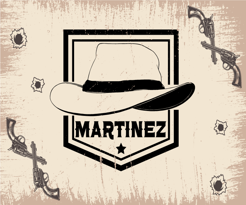 TenVinilo. Alfombrilla de ratón cowboy sombrero con nombre. Diseño personalizado de alfombrilla de ratón con nombre con un sombrero de vaquero para decorar al estilo del oeste ¡Envío a domicilio!