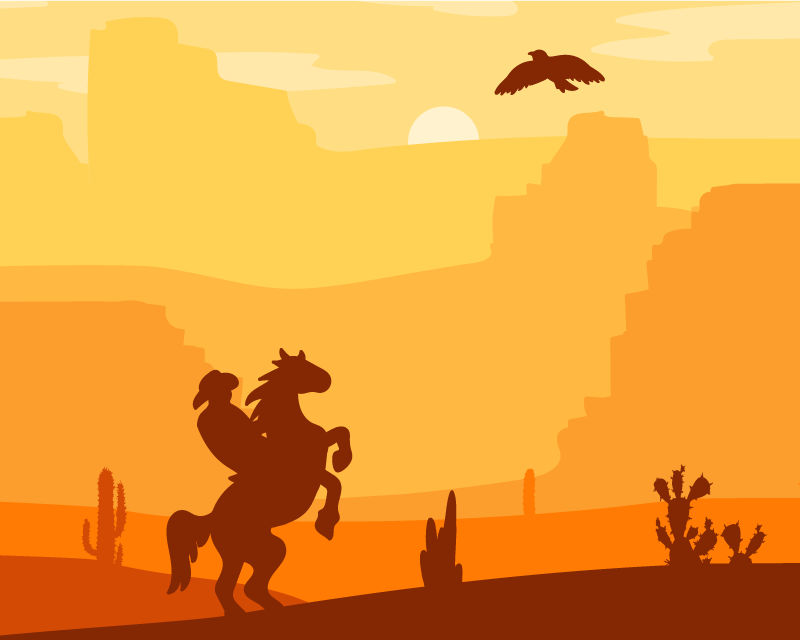 TenStickers. Cowboy Landscape mouse mat. An amazing desert landscape mouse pad design featured with a cowboy riding on a horse. It is made from high quality material and available in sizes.