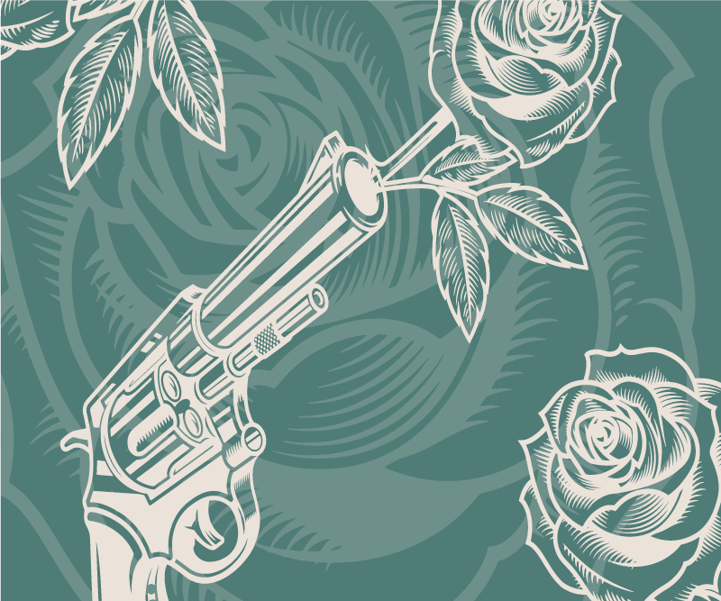 TenStickers. Cowboy revolver and rose mouse mat. Cowboy feature mouse mat design created on green background with rose flowers. A lovely mouse pad deign made with high quality material.