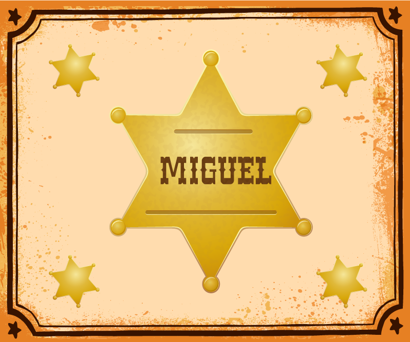 TenStickers. Sheriff Badge with name personalised vinyl mouse pad. Beautiful sheriff badge mouse pad designed in yellow colour on brown background.  It is customisable with any name you want.
