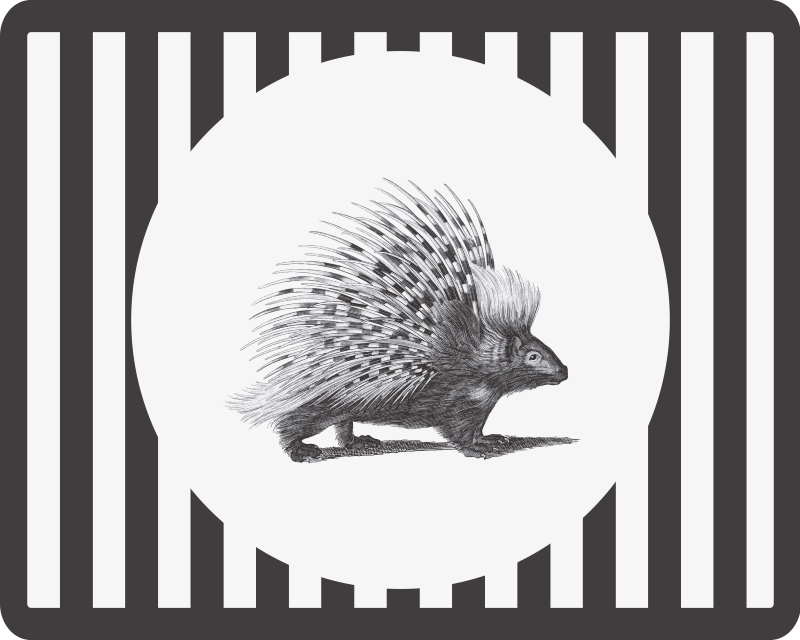 TenStickers. Black and white hedgehog mouse mat. Black and white hedgehog mouse pad design created with white and black stripe background. Easy to maintain and of good quality.