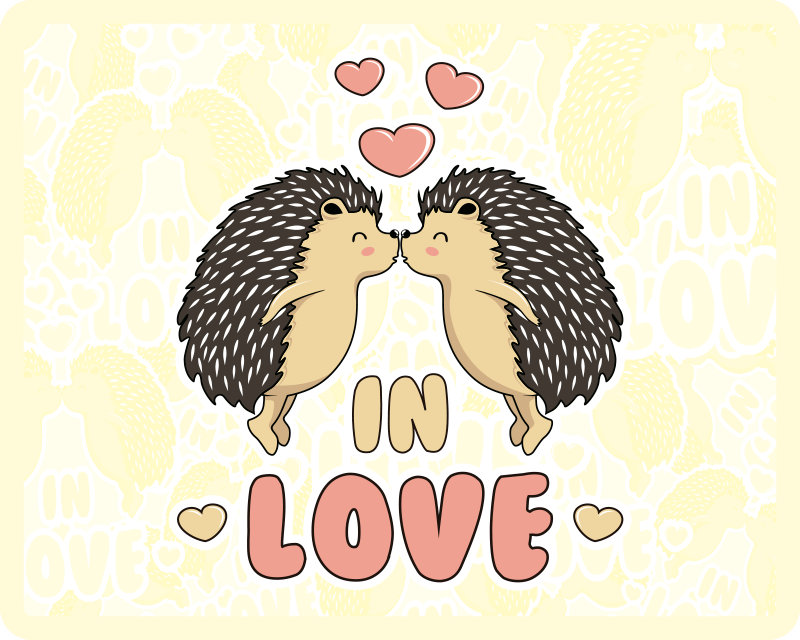 TenStickers. Porcupine in love hedgehog mouse mat. An amazing porcupine design style for your mouse mat. This design is featured with two porcupines kissing and the text ''In love''.
