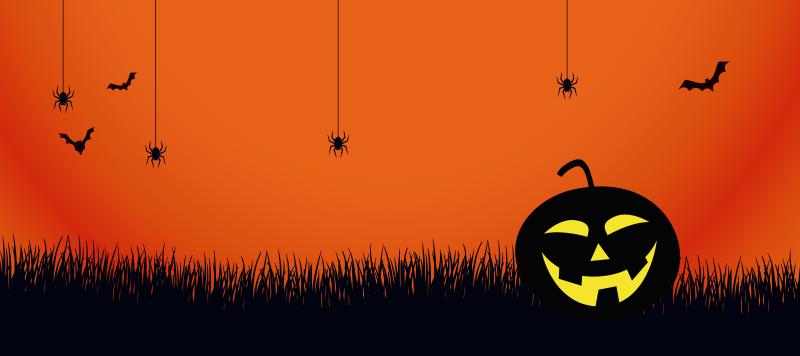 TenStickers. 조명이 호박 마우스 패드. 크롤링 거미, 잔디 풍경을 통해 박쥐 비행의 디자인 오렌지 컬러 마우스지도. 그것은 독창적이고 내구성이 있으며 질감을 잃지 않습니다.