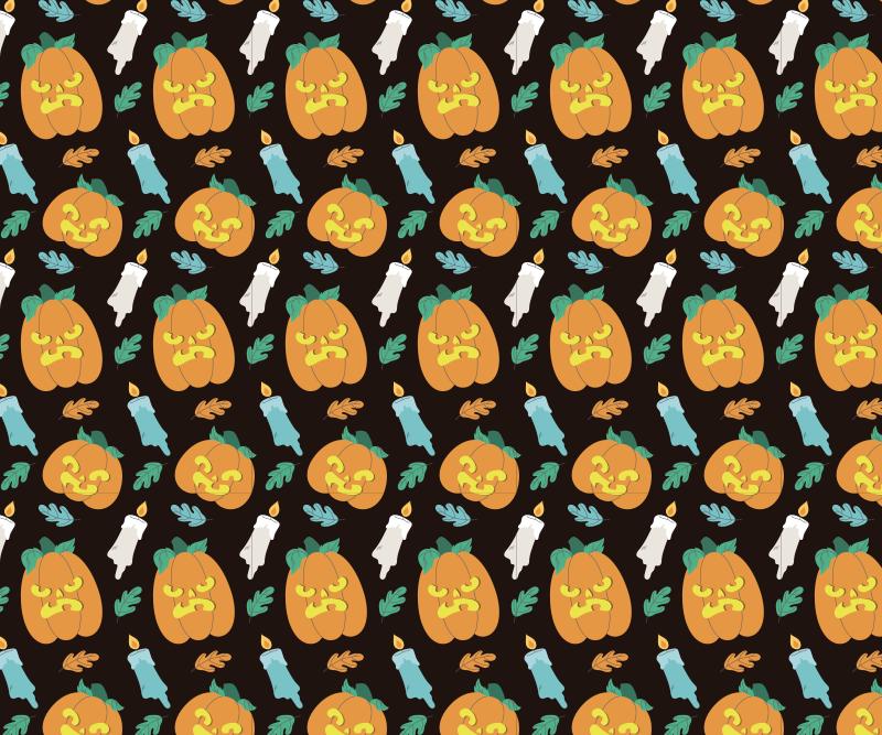 TenStickers. Halloween pompoen lantaarn muismat. Het gekenmerkte halloween muismat met ontwerp van pompoenen, aangestoken kaarsen en sierbloemen op een donkere gekleurde achtergrond.