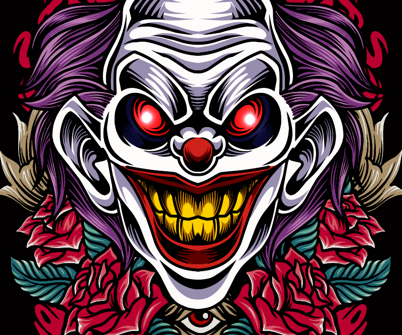 TenStickers. Clowns are evil Halloween mouse pad. Urban art mouse pad design of an evil clown. It is colorful and made with best quality material. Available in different size options.