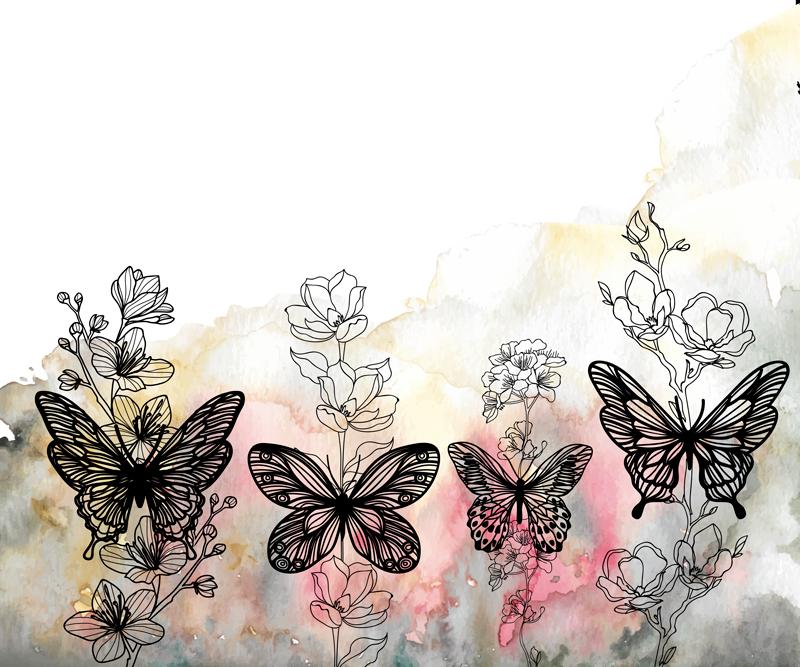 TENSTICKERS. バタフライアートマウスマット. 蝶と花のビニールマウスパッド。デザインは、蝶や花の植物で抽象的なカラフルな塗装の背景を持っています。