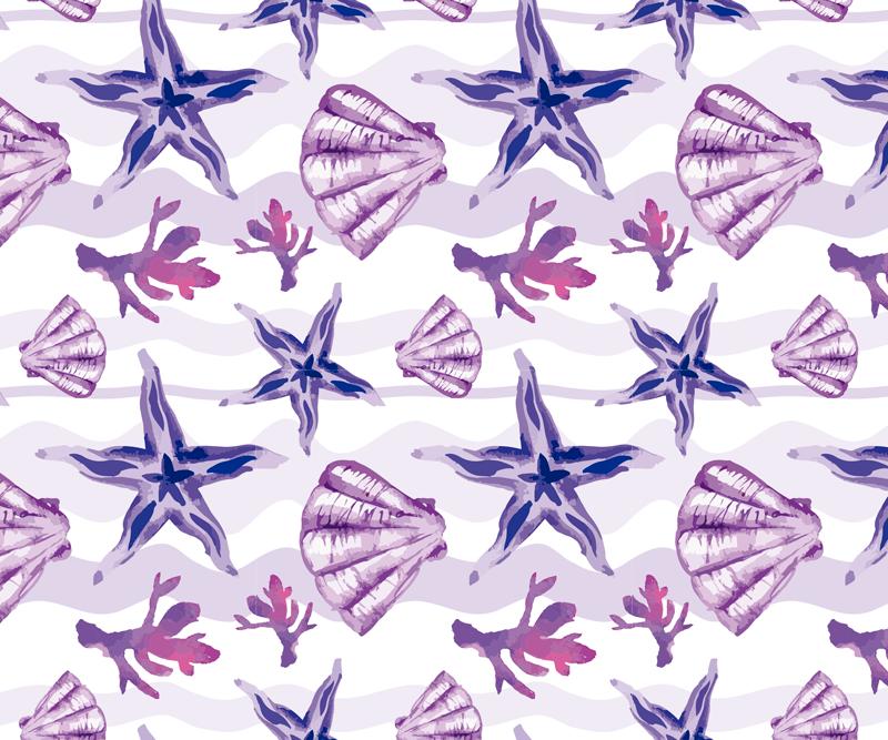 TenStickers. Schalen muismat Paarse zeesterren en zeeschelp. Zeeschelp muismat met een prachtig patroon van zeesterren, koraal en zeeschelpen gekleurd in mooie tinten paars en wit. Bestel hem nu!