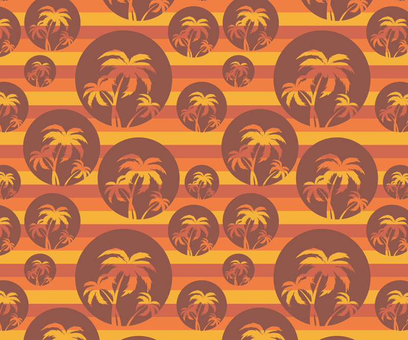 TenStickers. Retro Sunset and Palms trees mouse mat. A palm trees on circles mouse pad with sunset color stripes as background. Decorate your device space with this retro design.