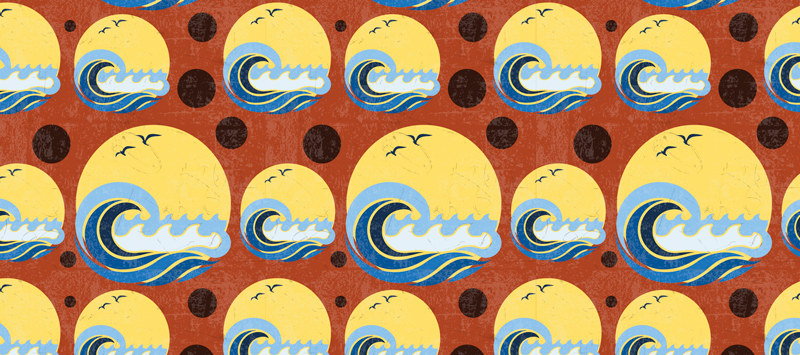 TenStickers. Sun, Beach and Wave pattern 70's sun mouse mat. Enjoy of a smooth surface and high quality beach wave and birds on sun mousepad with many circles with the same design! Many sizes options!