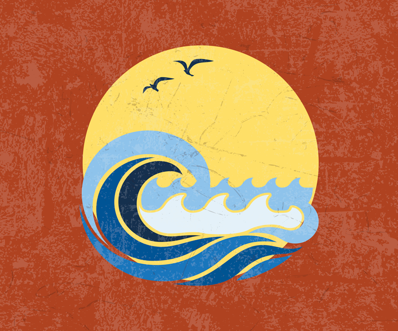 TenStickers. Sun, Beach and Wave 70's sun mouse mat. Beach wave on the yellow round sun mousepad to make the use of your device more fun. Made of high quality vinyl! Smooth surface!