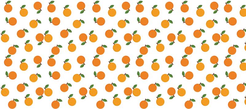 TenStickers. Patronen muismat Elegante sinaasappels. Citrus vinyl muismat met een design van hele sinaasappels met oranje bladeren, op een witte achtergrond. Wacht niet langer en bestel hem nu!