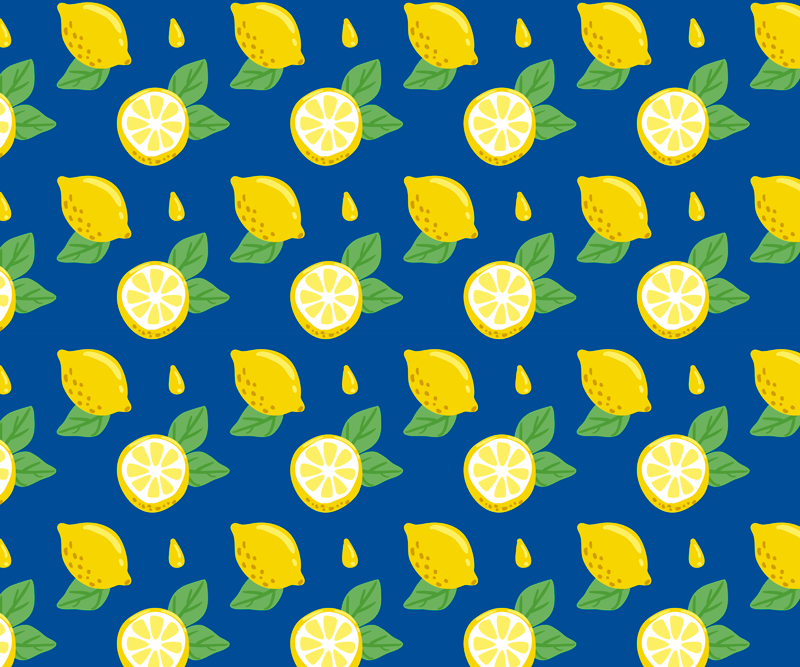 TenStickers. Hand draw lemons citrus mouse mat. Citrus vinyl mouse mat with whole lemons design with blue background and small lemon leaves, perfect for you to give a fresh and colorful atmosphere.