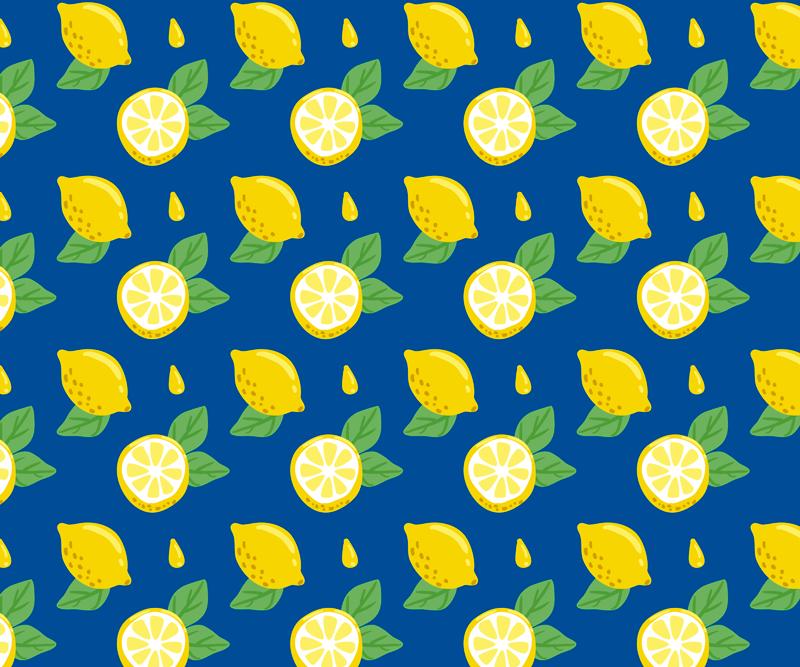 TenStickers. Patronen muismat Hand tekenen citroenen. Citrus vinyl muismat met hele citroenen ontwerp met blauwe achtergrond en kleine citroenblaadjes, perfect om een frisse en kleurrijke sfeer te geven.