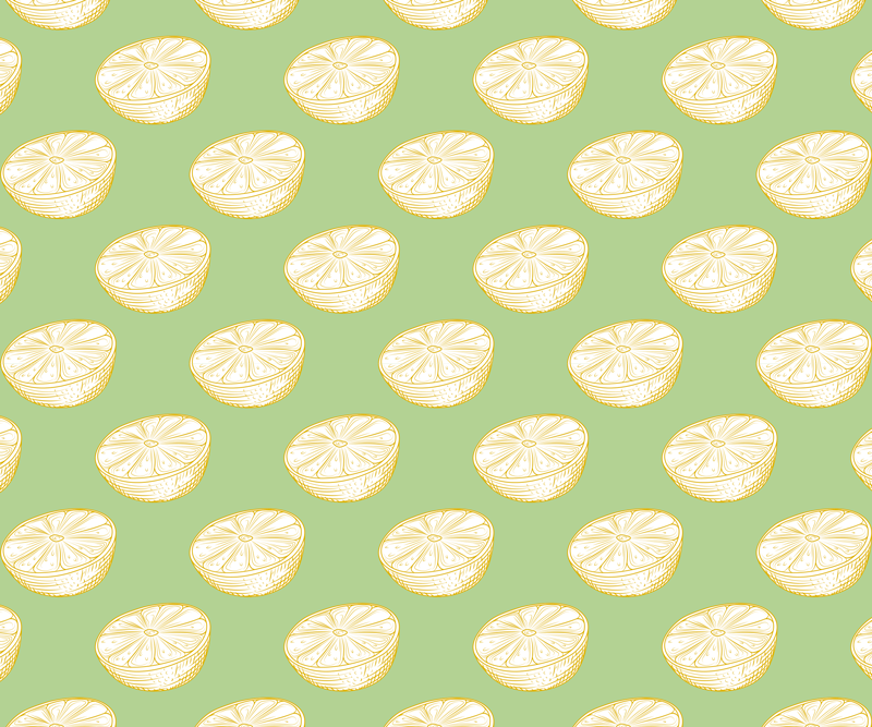 TenStickers. Hand drawn lemon citrus fruit citrus mouse mat. Citrus vinyl mouse pad with a super original design of citrus lemons with a green background that will fill with joy and color  the styles of your home