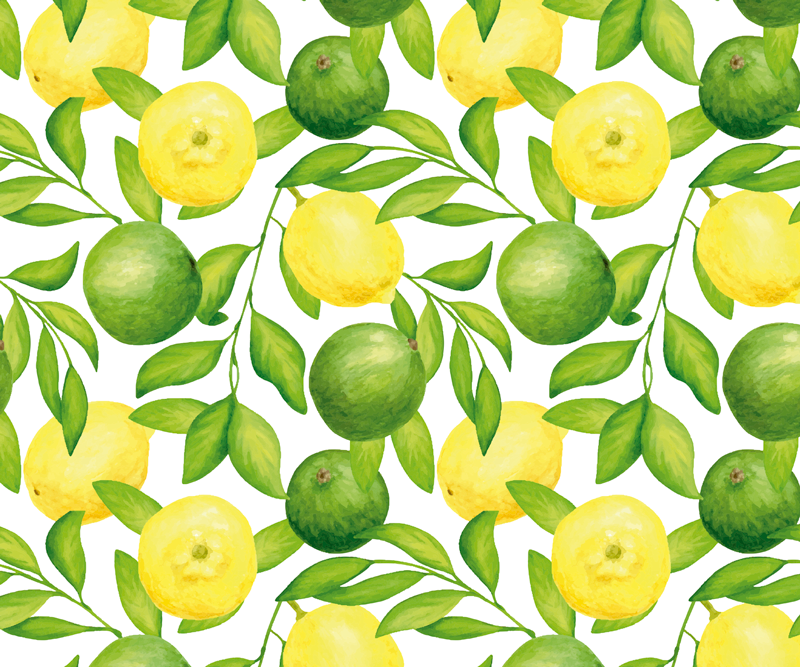 TenStickers. Lemon and Lime Branches mouse mat. Citrus mousepad which features an amazing pattern of lemons and limes with green branches in between them. +10,000 satisfied customers.