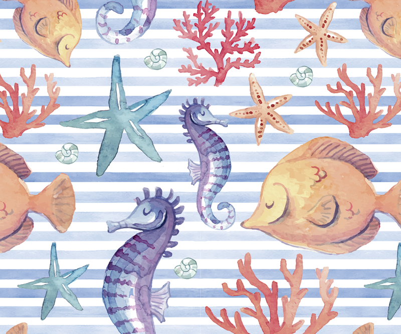 TenStickers. Sea Life Tiles sea life mouse mat. Vinyl mouse pad with a marine life design with white striped background and illustration of seahorses, seashells, starfish, snails, etc.